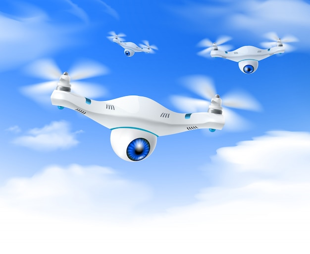 Realistic white drone blue sky background Free Vector