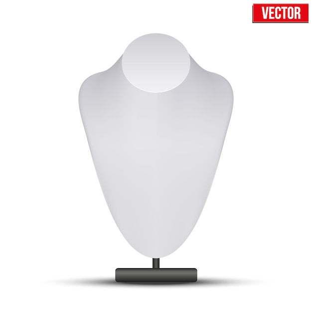 Realistic white dummy necklace bust. editable  illustration on white background. Premium Vector
