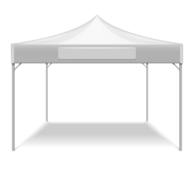 Realistic white folding tent for outdoor party in garden. vector mockup tent for protection from sun Premium Vector