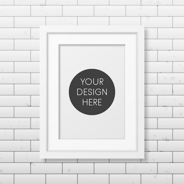 Realistic white frame a4 on the brick wall Premium Vector