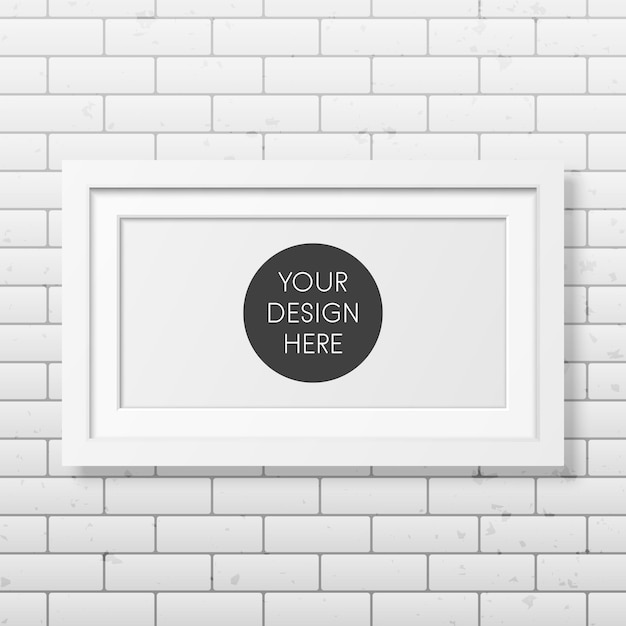 Realistic white frame on the brick wall Premium Vector