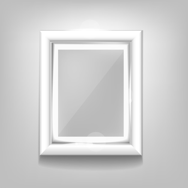 Realistic white frame pattern on a white background. Premium Vector