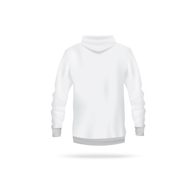 Realistic white hoodie  from back view - men's long sleeve sweater with hood  on white background. sport apparel  template -  illustration. Premium Vector