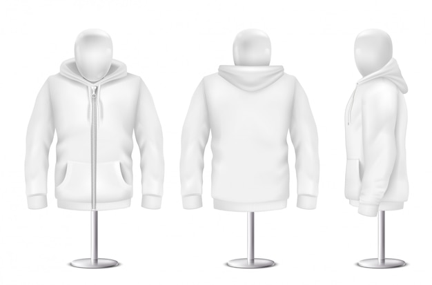 Realistic white hoodie, front, back, side view of sweatshirt Free Vector