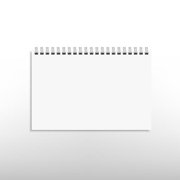 Реалистичный белый горизонтальный спиральный блокнот, изолированный на белом. . Premium векторы