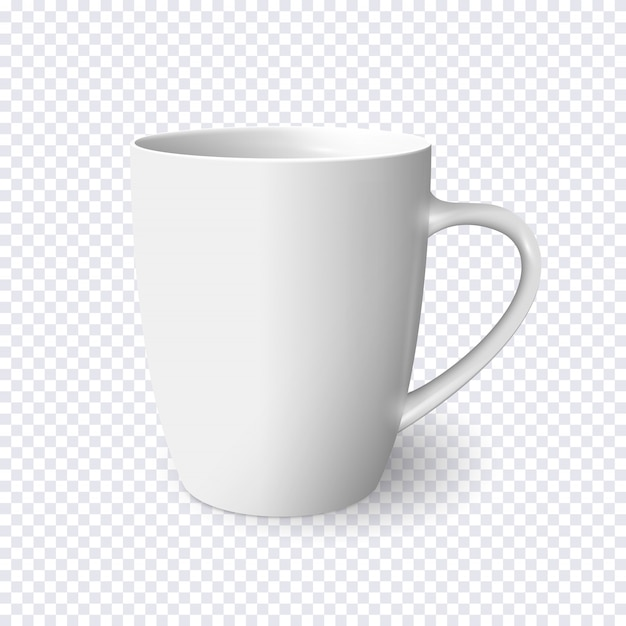 Realistic white mug isolated on transparent Premium Vector