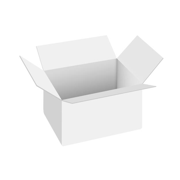 Realistic white open box Premium Vector