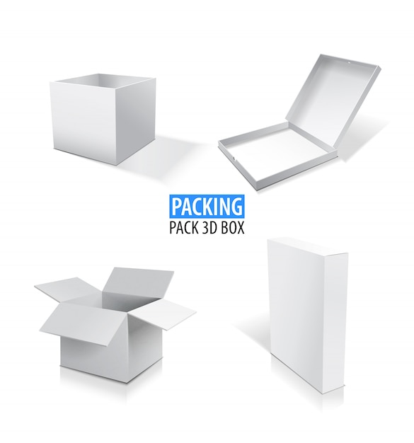 Realistic white opened and closed blank box set illustration. Premium Vector