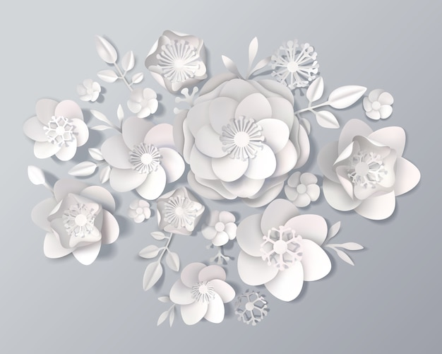 Realistic white paper flowers set Free Vector