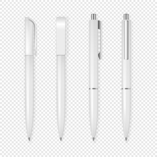 Realistic white pen icon set. Premium Vector
