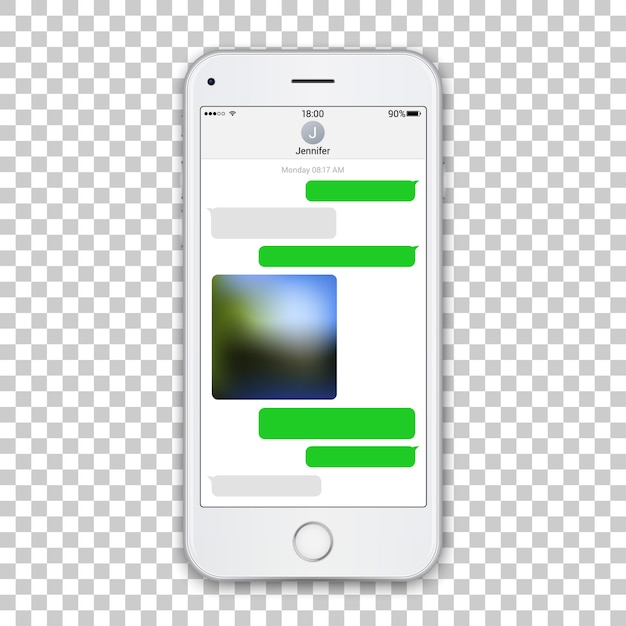 Realistic white phone template with chat messenger on screen Premium Vector