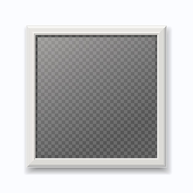 Realistic white picture frame, modern empty photo frame isolated on white wall. Premium Vector
