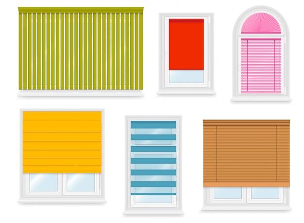 Realistic white plastic windows set with different blinds.  illustration. Premium Vector