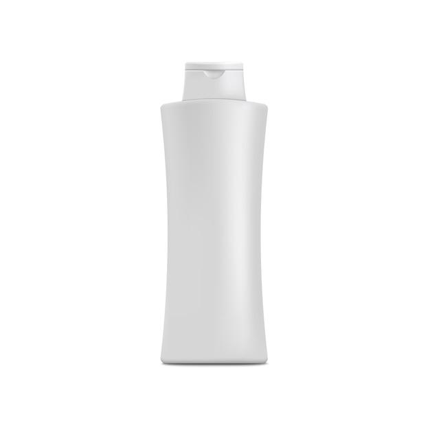 Реалистичная белая бутылка шампуня с пустой копией пространства для розничной упаковки. увлажняющий косметический лосьон или контейнер для геля для душа - Premium векторы
