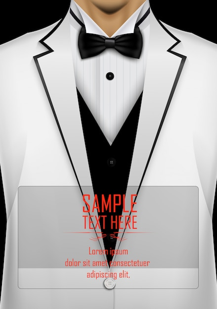 Realistic white suit and tuxedo with black bow tie template Premium Vector