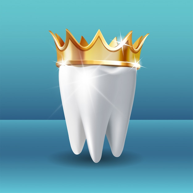 Realistic white tooth in golden crown on blue background Premium Vector