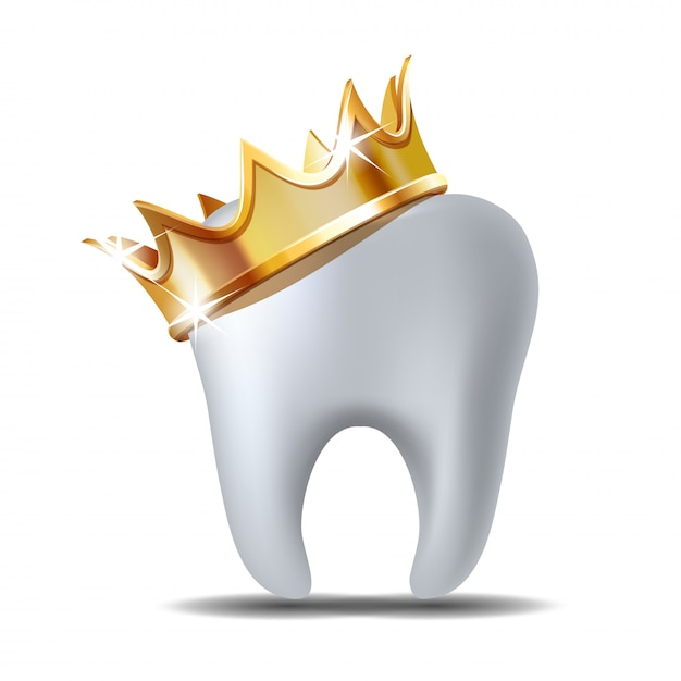 Premium Vector Realistic White Tooth In Golden Crown Isolated On White A wide variety of cartoon crown options are available to you freepik