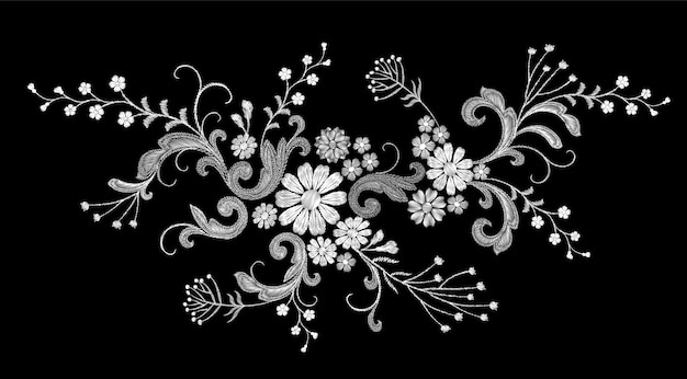 Realistic white vector embroidery fashion patch Premium Vector