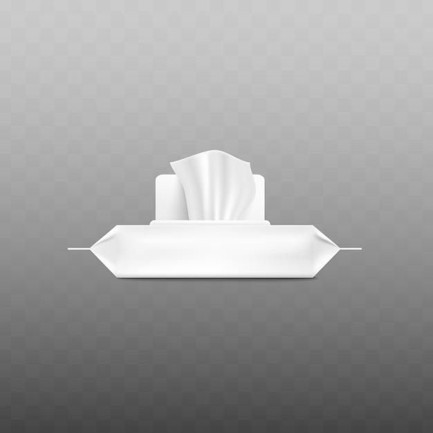 Реалистичная белая упаковка влажных салфеток с открытым клапаном и выходящей салфеткой при виде сбоку на прозрачном фоне - пластиковый пакет Premium векторы