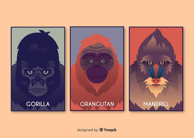 Realistic wild animal card collection Free Vector