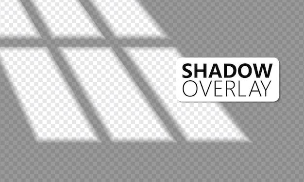 현실적인 창 조명, 햇빛, 투명 오버레이 그림자 효과. 프리미엄 벡터