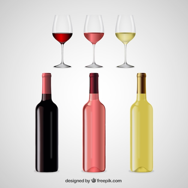 Realistic wineglasses and bottles Free Vector