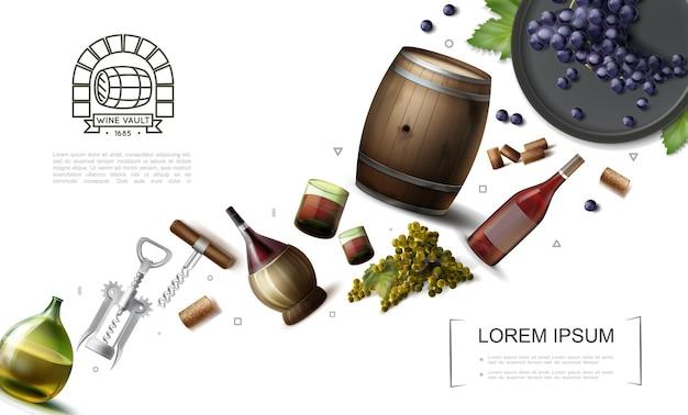 병 안경 및 와인 포도의 나무 통 현실적인 포도주 양조 요소 컬렉션은 코르크 일러스트를 움큼 무료 벡터
