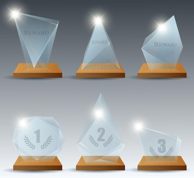 現実的な勝者クリアガラストロフィー報酬 Premiumベクター