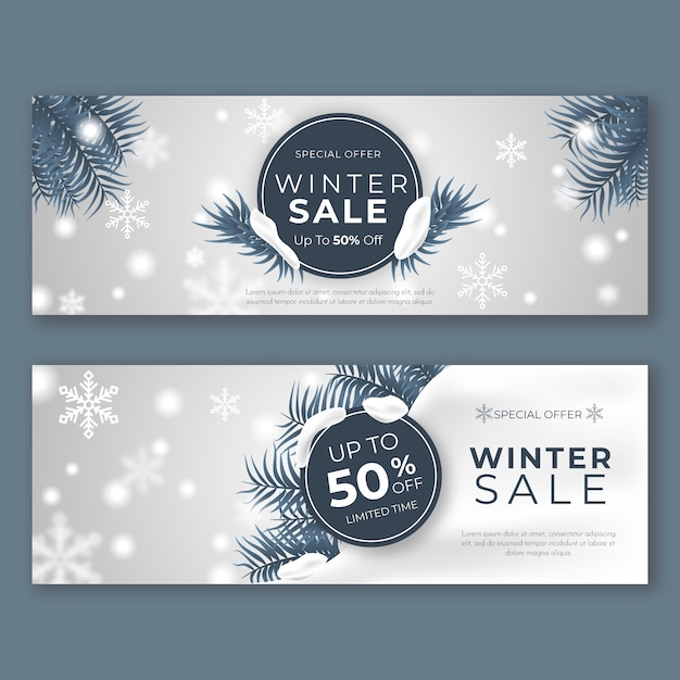 Realistic winter sale banners template Free Vector