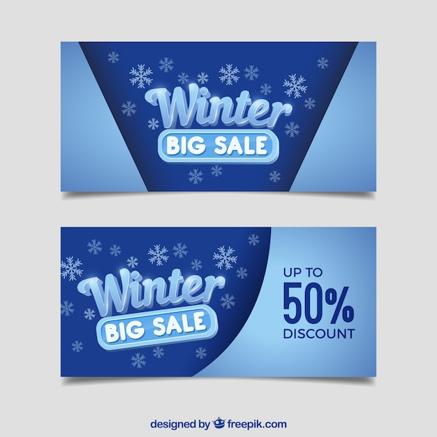 Winter Sale Banners Curved Ribbon Banners