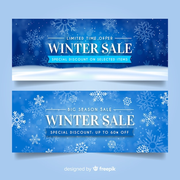 Realistic winter sale banners Free Vector