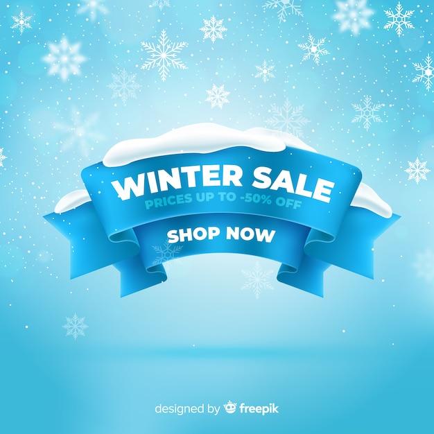 Реалистичная концепция зимней распродажи Premium векторы