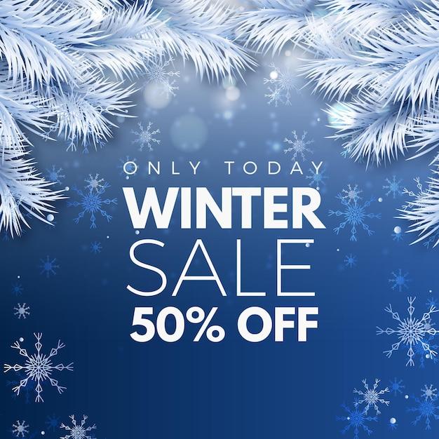 Offerta di vendita invernale realistica Vettore gratuito
