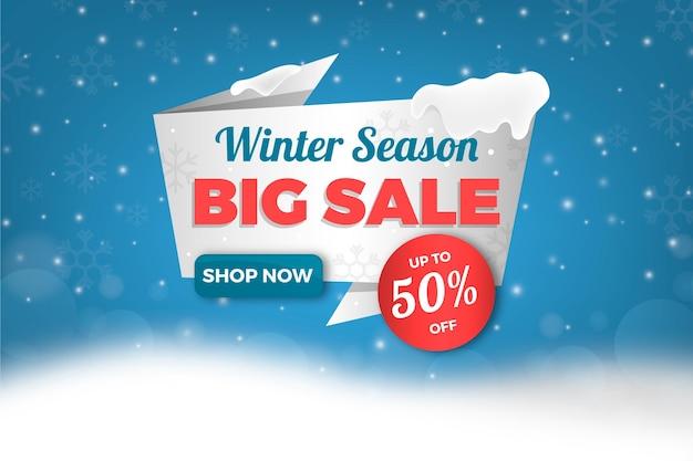 Realistic winter sale Free Vector