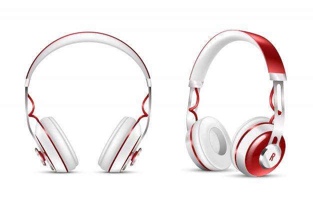 Realistic wireless headphones set Free Vector
