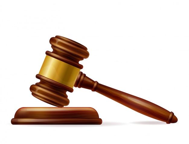 Реалистичный деревянный коричневый молоток судьи Бесплатные векторы