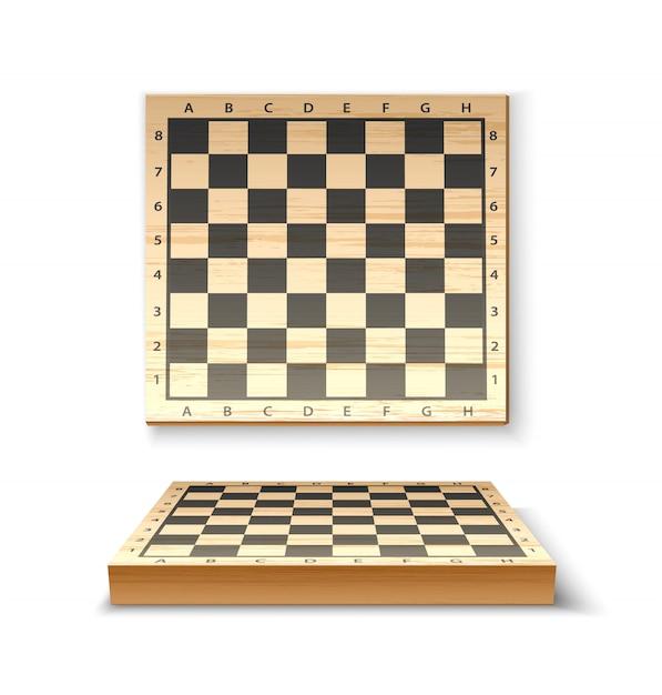 チェスのゲームのための現実的な木製のチェス盤 Premiumベクター