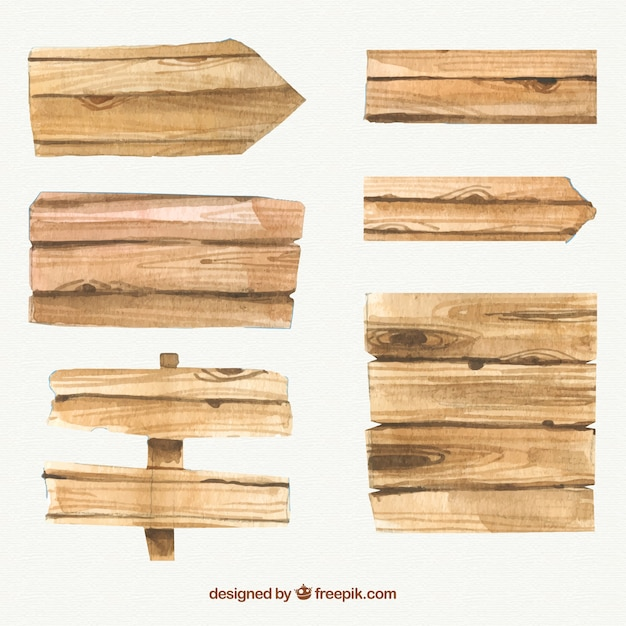 Realistic wooden signs Free Vector