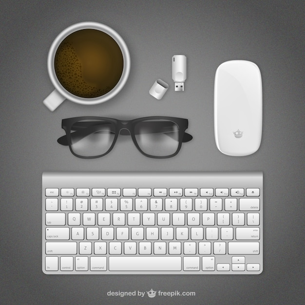 Realistic workspace with keyboard Free Vector