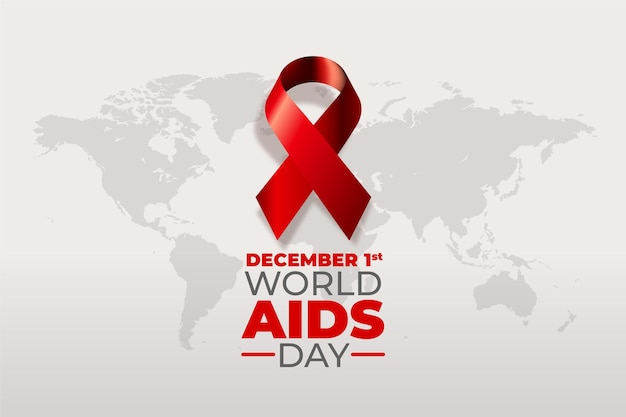 Realistic world aids day ribbon Premium Vector