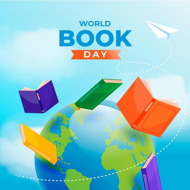 本と惑星の現実的な世界の本の日のイラスト 無料ベクター