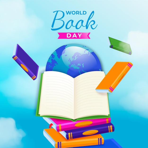 Realistic world book day illustration with book and planet Free Vector