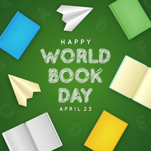 Реалистичная иллюстрация всемирного дня книги с книгами и бумажными самолетиками Бесплатные векторы