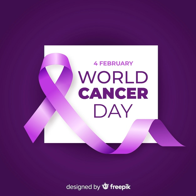 Realistic world cancer day background Free Vector
