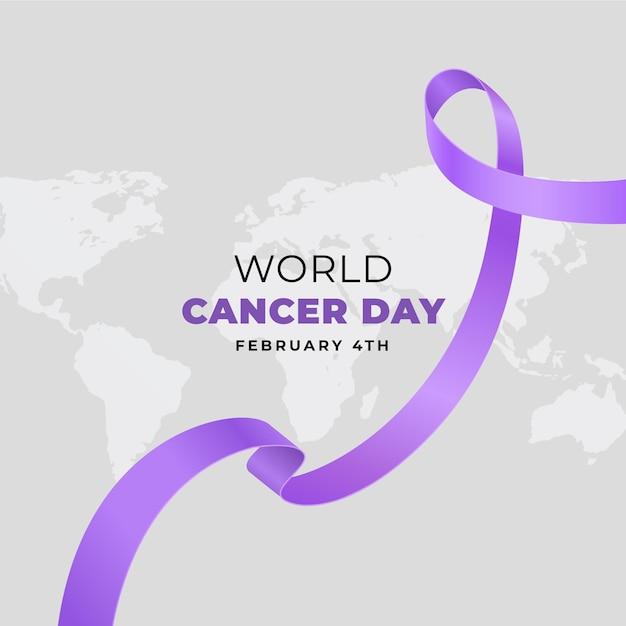 현실적인 세계 암의 날 배경 무료 벡터