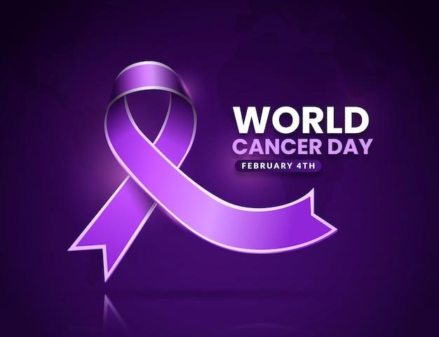 Nastro realistico della giornata mondiale del cancro Vettore gratuito