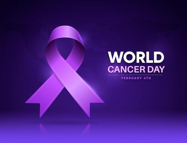 현실적인 세계 암의 날 무료 벡터