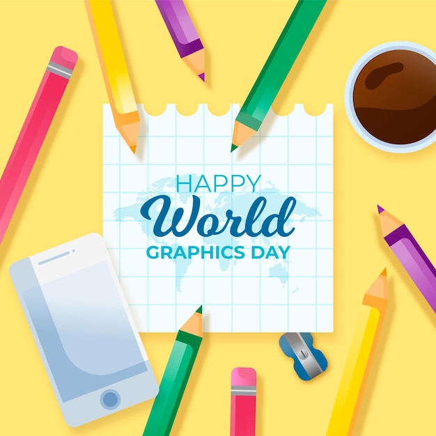Realistic world graphics day Free Vector