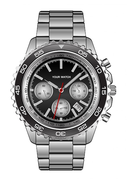 Realistic wristwatch steel black design for men luxury on white Premium Vector