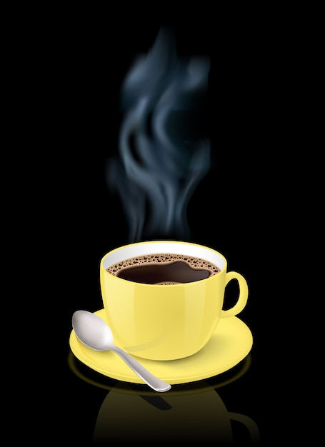Realistic yellow cup filled with black classic espresso on black background Free Vector